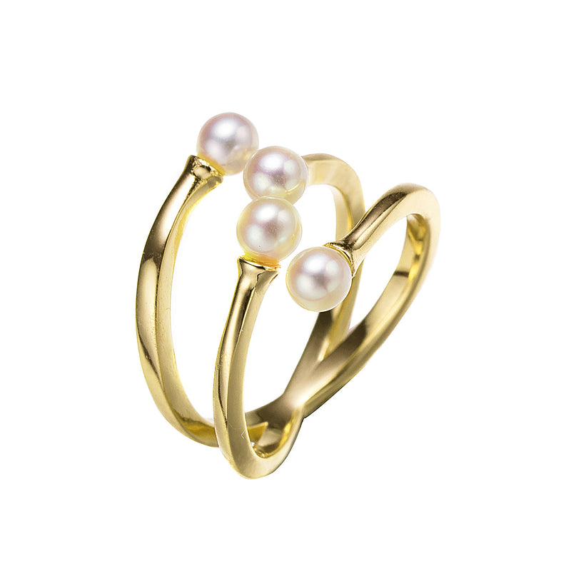 Gold Helix Pearl Ring