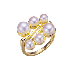Mirror Lines Gold Pearl Ring
