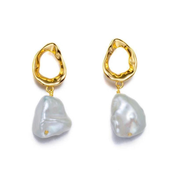 Golden Teardrop Coin Pearl Earrings