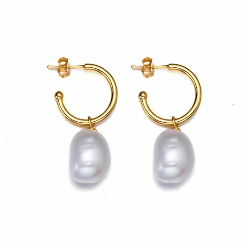 Goddess Pearl Hoop Earrings