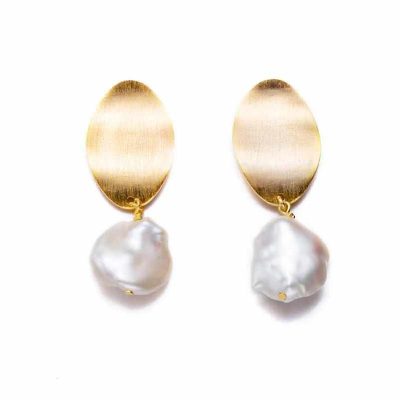 Antique Keshi Pearl Earrings