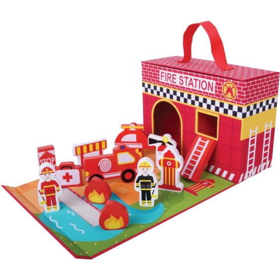 Foldaway fire station-Squidling Toys