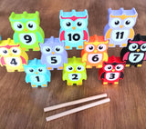 Owl game - Wooden number stacking