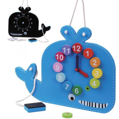 Blue whale clock and blackboard-Squidling Toys