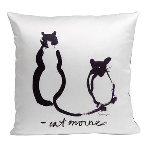 Cat and Mouse Pillow from the Noir Pillow Collection | Multiple Sizes Available