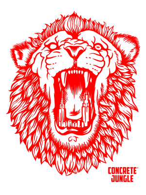 OG City Lion Tee - Red Graphic