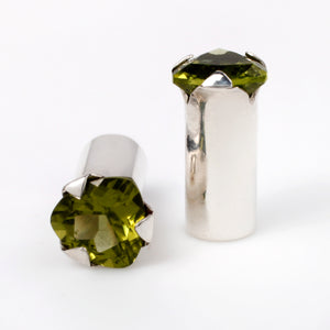 Peridot and sterling silver single flare plugs