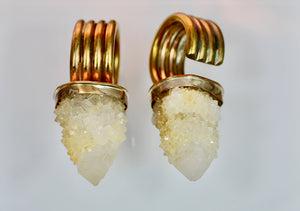 Citrine Spirit Quartz and Brass Ear Weights
