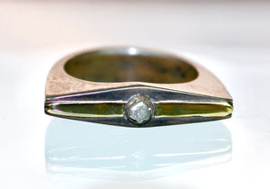 Sterling Silver and 14k yellow Gold .25ct rough Diamond Ring