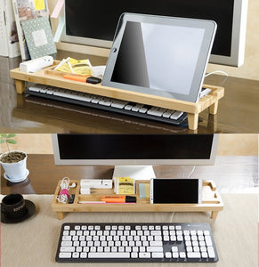 Wood Desktop Organizer Keyboard