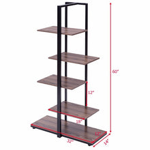 "Load image into Gallery viewer, 5 Tiers Bookcase 60"" Modern Open Concept"