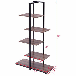 "5 Tiers Bookcase 60"" Modern Open Concept"