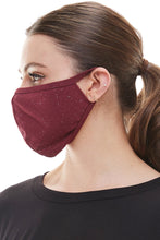 Load image into Gallery viewer, Fashion mask ear loop washable reusable black burgundy fabric face