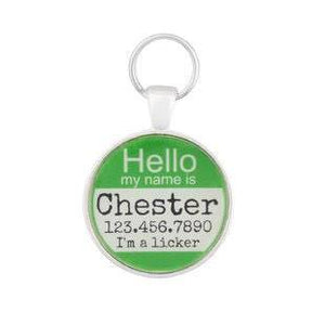 Hello Personalized Silver Dog ID Pet Tag