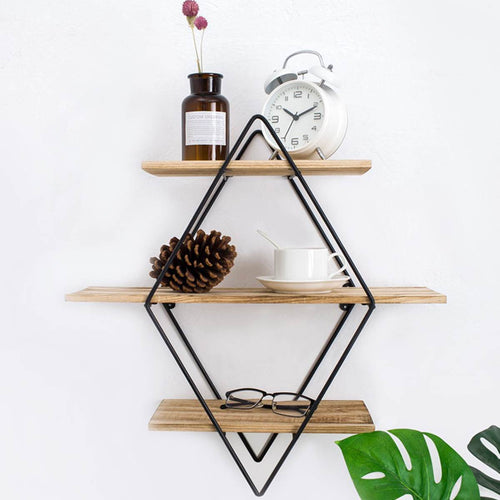 Retro Iron Metal Wood Wall Storage Shelves, Modern Shelf Kitchen Organizer
