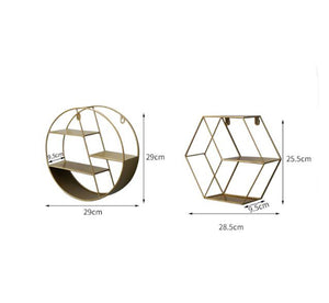 Metal Decorative Shelf round Hexagon storage holder rack