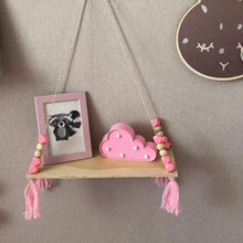 Load image into Gallery viewer, Beads Wood Shelves with Tassel Wall Clapboard Decoration Holder