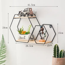 Load image into Gallery viewer, New Wooden Gold Storage Racks Hanging Decor Storage Box Flower Pot House Storage Rack Wall Book Figurines Display Crafts Shelves