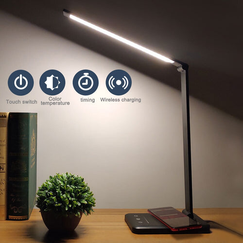 LED Table Desk Lamp  Wireless Charging  Multi-Function Reading Light