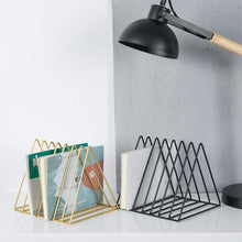 Load image into Gallery viewer, 2019 New Arrival Nordic Wrought Iron CD Vinyl Record Storage Rack Bookshelf Triangle Magazine Rack Shelf Simple Solid Color