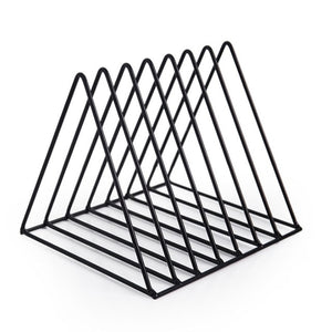 2019 New Arrival Nordic Wrought Iron CD Vinyl Record Storage Rack Bookshelf Triangle Magazine Rack Shelf Simple Solid Color