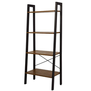 Bookshelf with 4 Tiers Corner Shelf Shelves and Storage Industrial Bookcase