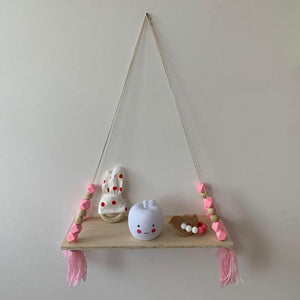 Beads Wood Shelves with Tassel Wall Clapboard Decoration Holder