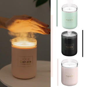 Air Purifier Aroma Diffuser Ultrasonic Humidifier  Mist Candle Light Mini Modern Relaxing Body