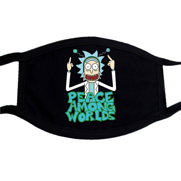 Cartoon Print Cotton Mask Rick And Morty Washable Unisex Dust Proof Face Masks Black Bilayer Winter Keep Warm Mouth Muffle Masks