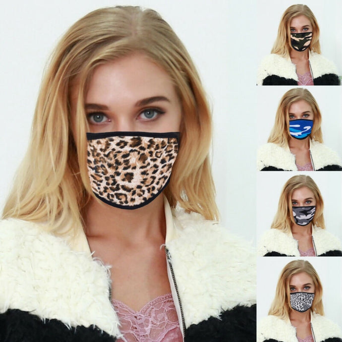 Fashion Leopard Camouflage Print Cotton Mask