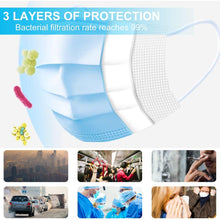 Load image into Gallery viewer, Disposable mask 3-layer Anti-Dust Antibacterial Mask 50pcs Face Non Woven Mouth Masks Proof Cotton Face Masks