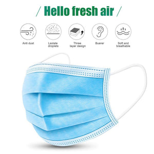 Disposable mask 3-layer Anti-Dust Antibacterial Mask 50pcs Face Non Woven Mouth Masks Proof Cotton Face Masks
