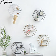 Load image into Gallery viewer, Hexagon Wall shelf Modern Wall Hanging Geometric Figure Decorative