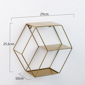 Hexagon Wall shelf Modern Wall Hanging Geometric Figure Decorative