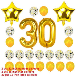 miss-celebrate 24pcs gold set 30th Birthday Balloons Set