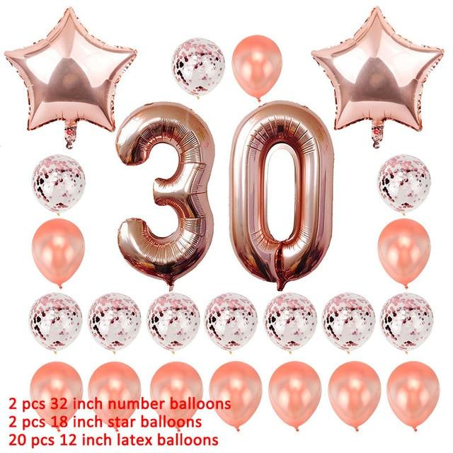 miss-celebrate 24pcs rose gold 30th Birthday Balloons Set