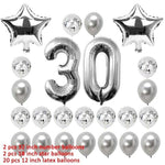 miss-celebrate 24pcs silver set 30th Birthday Balloons Set