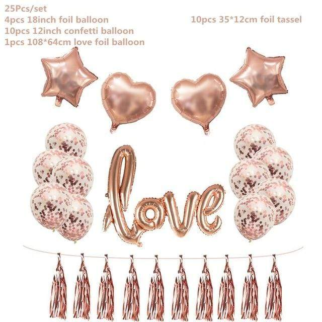 Miss Celebrate 25 piece set Rose Gold Love Balloon Set