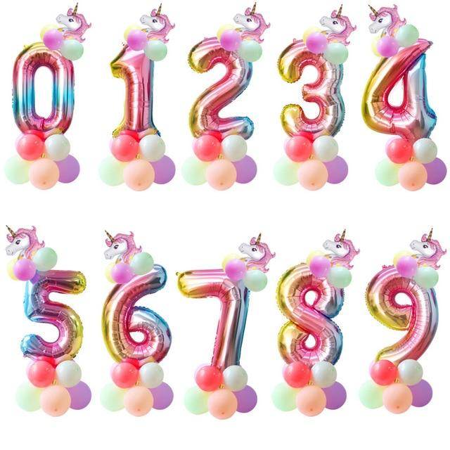 Miss Celebrate 3 Rainbow Unicorn Number Balloon