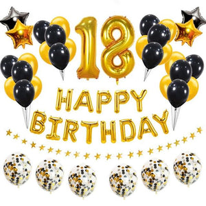 miss-celebrate 38pcs gold black 18th Birthday Balloon Set