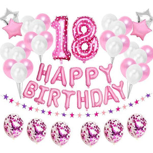 miss-celebrate 38pcs pink 18th Birthday Balloon Set