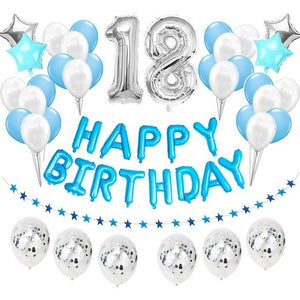 miss-celebrate 38pcs silver blue 18th Birthday Balloon Set