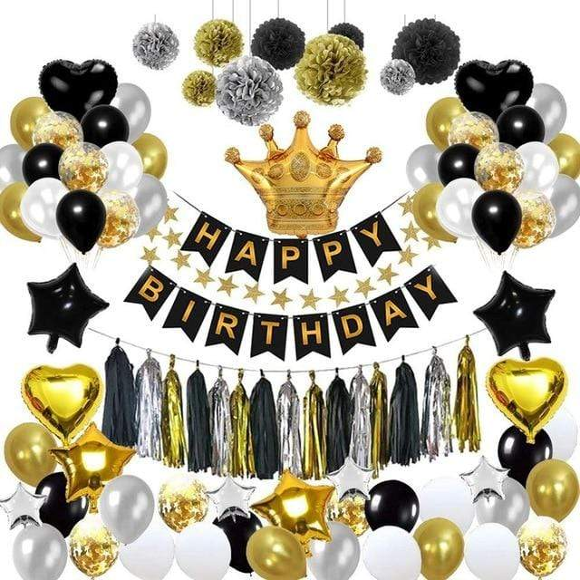 Miss Celebrate 93 piece Black & Gold Happy Birthday Set
