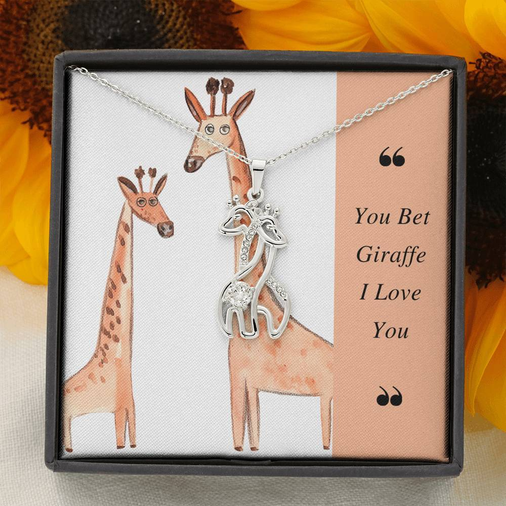miss-celebrate Jewelry 14K White Gold Finish Graceful Love Giraffe Necklace