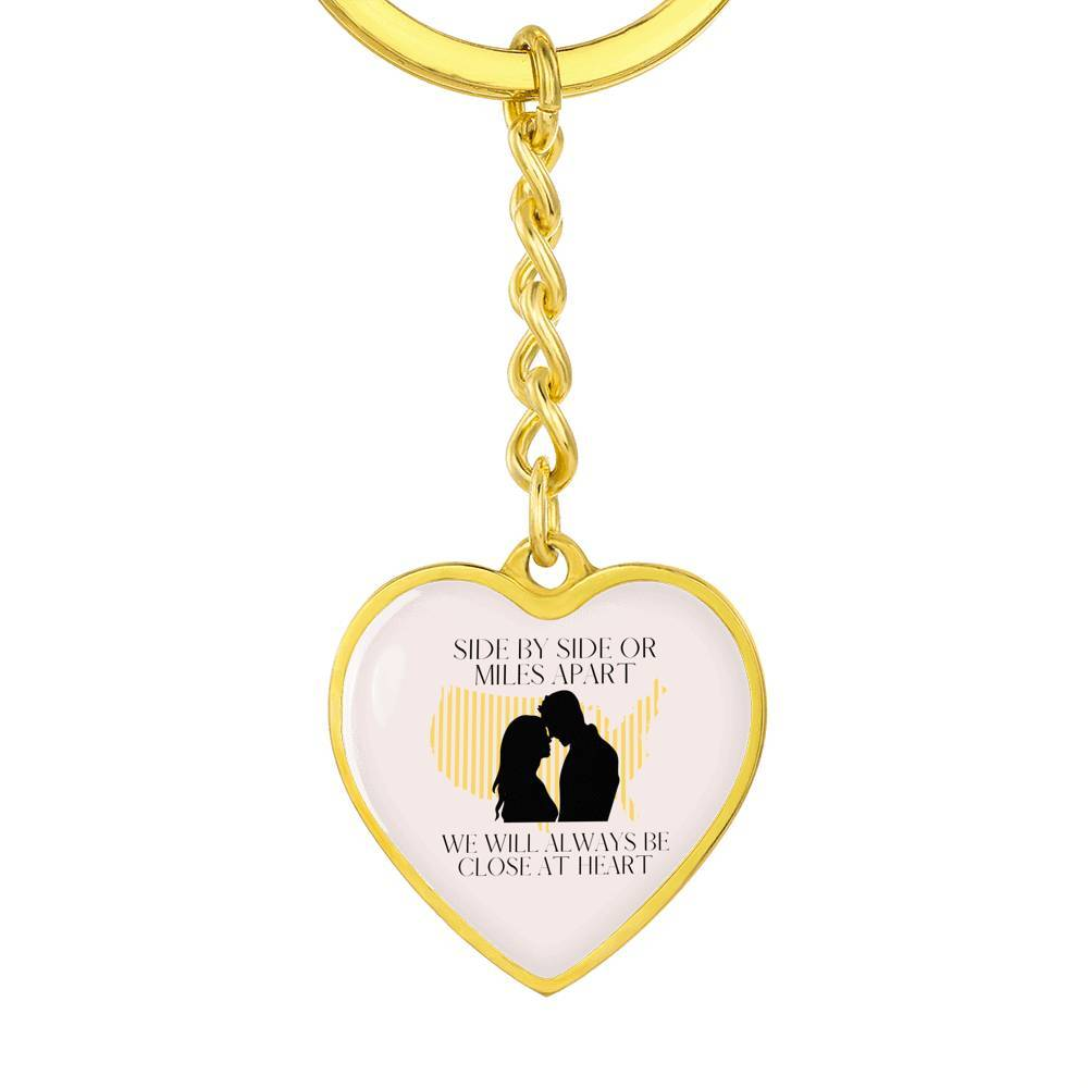 miss-celebrate Jewelry Graphic Heart Keychain (Gold) / No Custom Engraved Heart Keychain