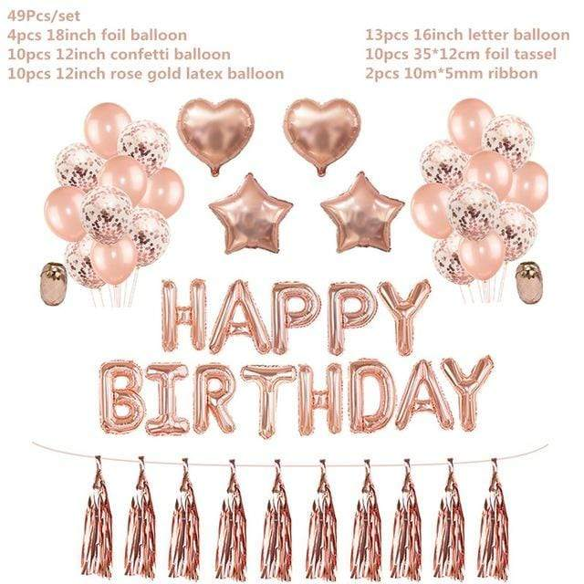 Miss Celebrate Large Set Rose Gold Happy Birthday Balloon Set