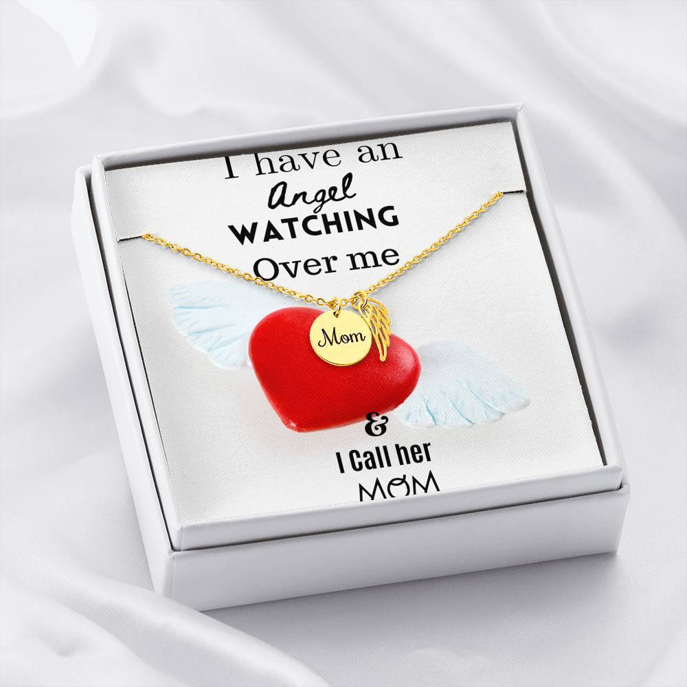 ShineOn Fulfillment Jewelry 18k Yellow Gold Finish Mom Remembrance Necklace w/ Angel Card