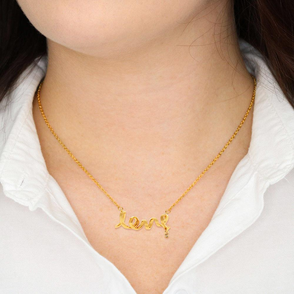 ShineOn Fulfillment Jewelry 18k Yellow Gold Plating Scripted Love Necklace
