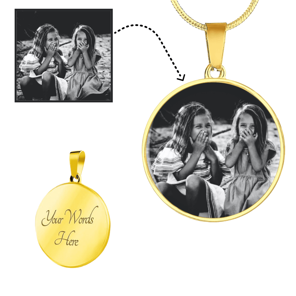 ShineOn Fulfillment Jewelry Gold with Engraving / Yes Personalized Picture Necklace