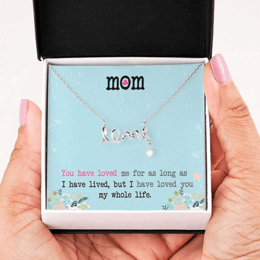 ShineOn Fulfillment Jewelry Premium 316L Surgical Steel Scripted Love Necklace w/ Love Mom Card